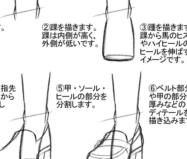 靴の描き方 『ヒール法』でローファーを描こう!」足描き方講座